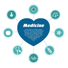Infographic medical subjects. Heart with text inside and 8 icons. Heart, pills, medical cross, bacteria, thermometer, virus, vitamin. Circle on white background