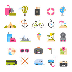 Set Of Icons For Travel And Tourism Active Vacation, Sea Beach Recreation Holiday Concept Flat Vector Illustration
