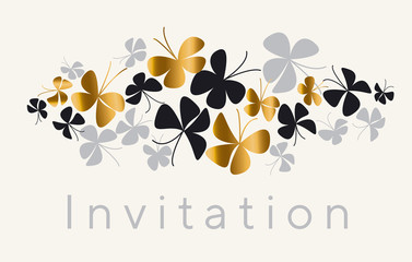 Elegant gold and black butterfly composition for card, invitation. Simple luxury floral vector illustration for surface design.