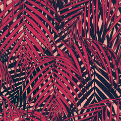 Seamless pattern with tropical leaves. Vector illustration