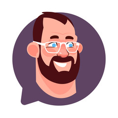 Profile Icon Male Head In Chat Bubble Isolated, Bearded Caucasian Man Wearing Glasses Avatar Cartoon Character Portrait Flat Vector Illustration