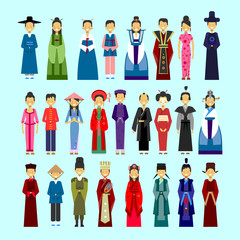 Set Of People In Traditional Asian Clothing, Male And Female National Costumes Collection Concept Flat Vector Illustration