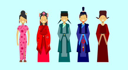 Set Of Asian Costumes, Ethnic People In Traditional Clothing Concept Flat Vector Illustration