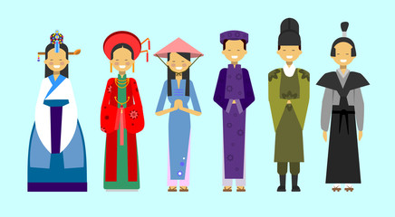 Set Of People In Traditional Asian Clothing, National Costumes Concept Flat Vector Illustration
