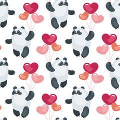 Seamless pattern with the image of cute pandas and hearts. Colorful vector background.