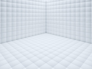 White small tile floor corner 3D rendering