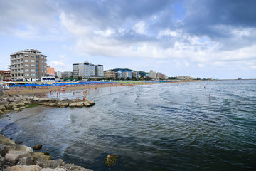 Pesaro Beach in Italy - Panoramic overview. Marche region.