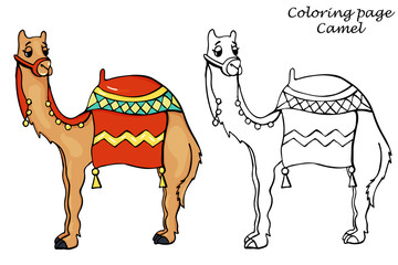 Coloring Page with Camel Outline in Cartoon Style