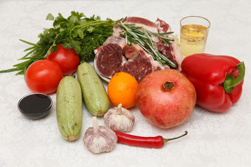 Products for grilled beef with zucchini and peppers