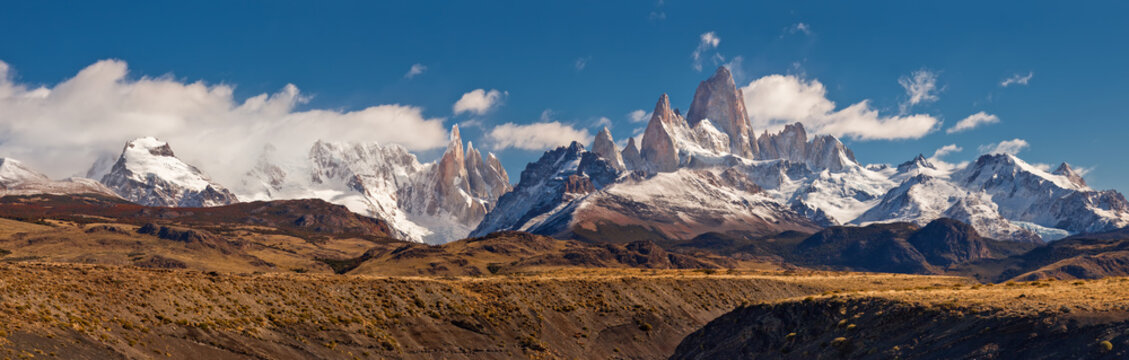 Fitz Roy mountain panorama, in the Southern Patagonia, on the border between Argentina and Chile
