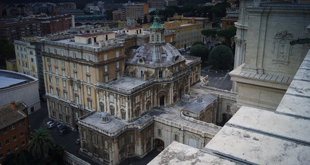 Top view of Vatican and Rome cityscape, sunset time