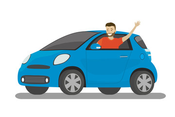 Happy cartoon caucasian male rides in blue car
