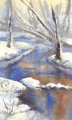 winter landscape with a river watercolor