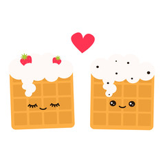 cute lovely cartoon vector waffles in love