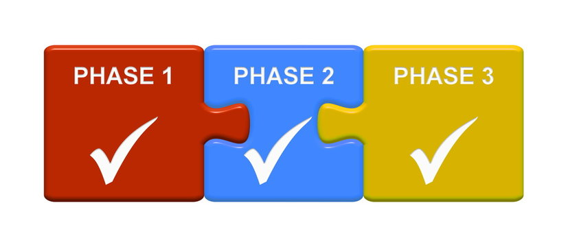 3 Puzzle Buttons zeigen Phase 1 2 3
