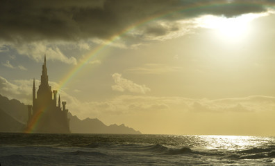 fantasy castle next to sea with rainbow