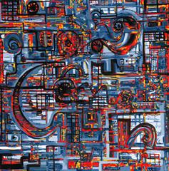 Rouages fictifs composés de formes arrondies et droites entremêlées en nuances de bleu de rouge