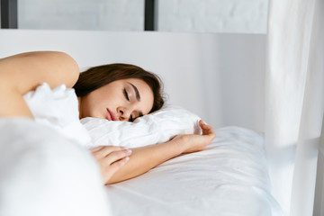 Sleep. Young Woman Sleeping In Bed.