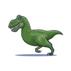 Hand Drawn Cartoon Tyrannosaur running. Vector