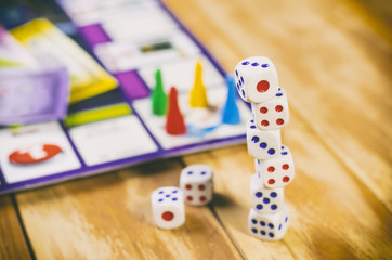 Board game with dice