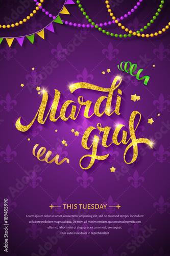 Mardi gras logo with golden hand written lettering beads ribbons mardi gras logo with golden hand written lettering beads ribbons and stars on traditional m4hsunfo