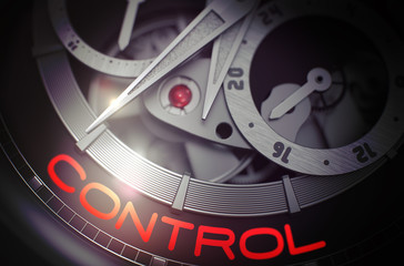 Control on the Luxury Men Wrist Watch Mechanism. 3D.