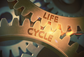 Life Cycle Concept. Golden Cogwheels. 3D Illustration.