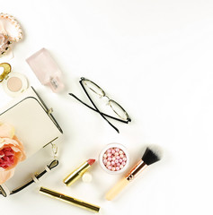 Female fashionable stylish accessories and make up cosmetics. bag, glasses, lipstick, mascara, powder, brush on a white background. Beauty blog concept. Flat lay. Copy space.top view
