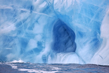 Ice cave in beautiful iceberg