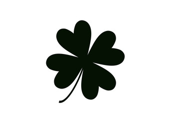 Four leaf clover isolated on white, vector illustration for St. Patrick's day