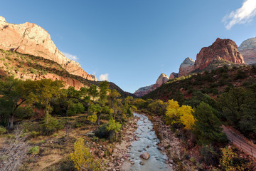 River & Watchman View, Zion National Park, Blue sky,Utah