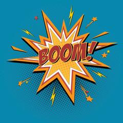 Boom comic book explosion and speech bubble. Vector cartoon illustration.