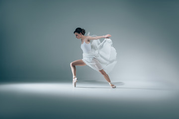 elegant ballerina dancing in white dress