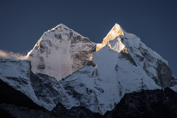 Kangtega mountain peak in a morning sunrise, Himalaya mountain range, Nepal