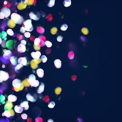Vector abstract bokeh background. Festive defocused lights. City night blur illumination. Blurred glow