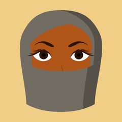 flat icon on theme Arabic business portrait of a Muslim woman