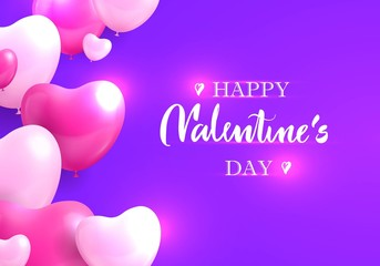 Greeting flyer, happy valentines day, heart bubbles around. Vector illustration, frame balloons, shining hearts on purple background with inscription