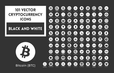 Big set of vector black and white cryptocurrency