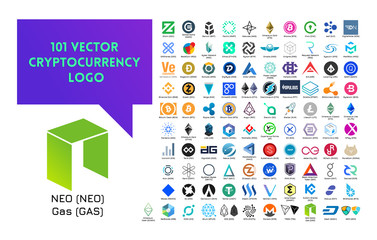 Big set of vector colorful cryptocurrency logo