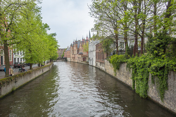 Canal at the medieval city of Brugge Belgium.