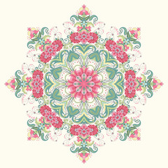 Vector background with a round ornament. Beautiful floral oriental pattern. Delicate green and pink.