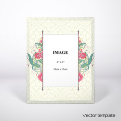 Photo frame. Beautiful oriental floral pattern. Delicate green and pink. Realistic shadows.