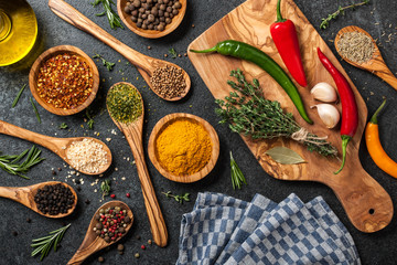 Foto op Canvas Kruiden Cooking table with spices and herbs