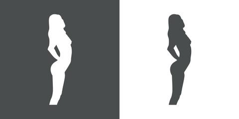 Icono plano silueta chica desnuda de pie gris y blanco