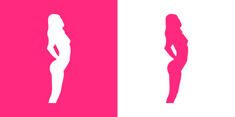 Icono plano silueta chica desnuda de pie rosa y blanco