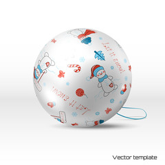 Vector Christmas ball. Pattern with snowmen, stars and Christmas decorations. Winter collection. Realistic shadows.