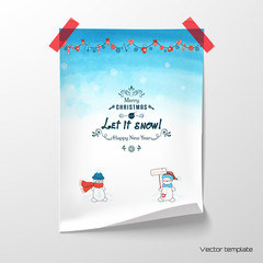 Vector poster. Sheet of paper glued with adhesive tape to the wall. Funny Cartoon snowmen and Christmas garland. Watercolor background  Xmas typographic label