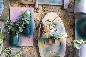 Artistic shoe flowerpot