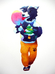 cute hipster dog eating candy cotton watercolor painting illustration hand drawn