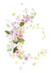 Round frame with spring blossom (bloom), branches with mauve, pink apple tree flowers, buds, green leaves on white background. Digital draw, illustration in watercolor style, vintage, vector